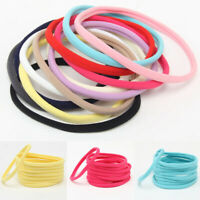 10Pcs Solid Baby Kids Elastic Headband Rope Craft Nylon Hair Hoop Ring Accessory