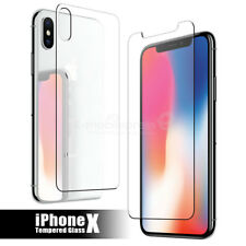 For iPhone X Front Back Real Tempered Glass Anti-Shock Scratch Screen Protector