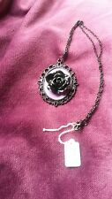 STEAMPUNK GOTHIC PURPLE /BLACK ROSE CAMEO   NECKLACE