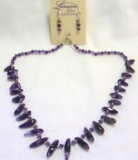 """18"""" HAND KNOTTED AMETHYST DRAGONS TEETH GEMSTONE BEADED NECKLACE & EARRINGS SET"""