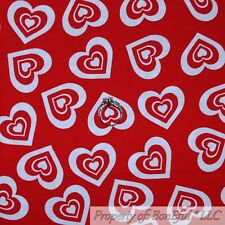 BonEful FABRIC FQ Cotton Quilt VTG Red White Valentine LOVE Heart Holiday Xmas S