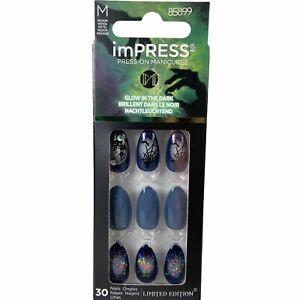 NEW Kiss Nails Impress Press On Manicure Medium Almond Gray Blue Black Halloween