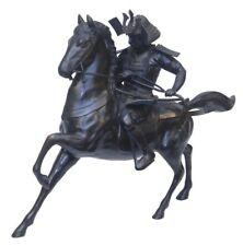 Large Antique 38in Bronze Japanese Seiya Meiji Period Samurai on Horse Sculpture