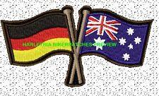 AUSTRALIA GERMAN CROSSED FLAGS BIKER PATCH 100 X 55MM