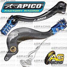 Apico Black Blue Rear Brake & Gear Pedal Lever For Yamaha YZ 450F 2011 Motocross