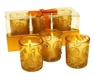 CANDLES VOTIVES GOLD SWIRL  SET OF THREE ELEGANT CANDLES