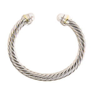 DAVID YURMAN Women's Cable Classic Bracelet with Pearl & 14K Gold 7mm $825 NEW