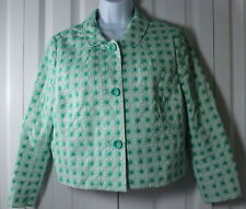 Boden Women's 8 Art Deco Green White Embroidered 3 Button Lined Blazer
