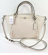 NWT Coach Small Kelsey Satchel with Floral Tooling Leather F24599 Chalk/Silver