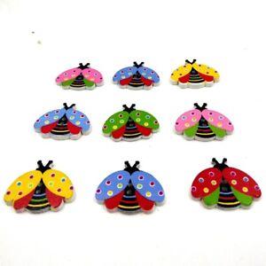 100pcs Ladybird Wooden Button Cartoon Animal Buttons DIY Craft Supplies 24mm