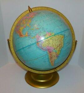 Vintage Cram's Imperial 12 Inch World Globe Metal Base pre 1980