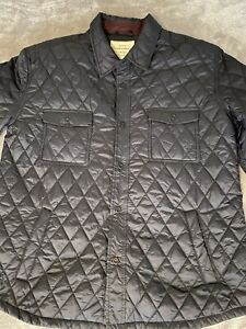 Weatherproof Vintage Mens Jacket Navy blue Size L Diamond Quilted Button Up