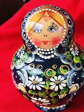 9-PC Wood Nesting Dolls Russian-blue And Yellow