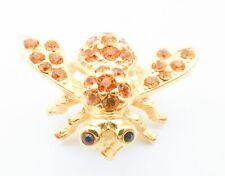 Joan Rivers Gold-Tone Orange Crystal Rhinestone Bumble Bee Insect Brooch Pin