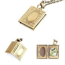 Professional Photo Frame Book Bronze Color Locket Pendant Necklace For Girl JZUS