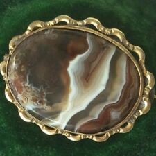 ANTIQUE JEWELRY SCOTTISH BANDED AGATE GOLD BROOCH PIN VINTAGE JEWELLERY