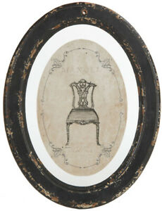 Bilderrahmen oval antikschwarz H 30cm x 23cm Shabby Chic Landhaus Rahmen NEUWARE