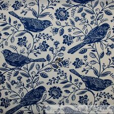 BonEful Fabric Cotton Quilt White Blue Spring Robin Bird Flower Toile LAST SCRAP