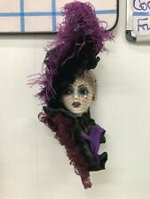 Unique Creations Lady Mask Signed Numbered purple feathers maroon