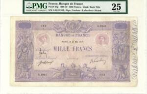France 1000 Francs Currency Banknote 1917 PMG 25 VF