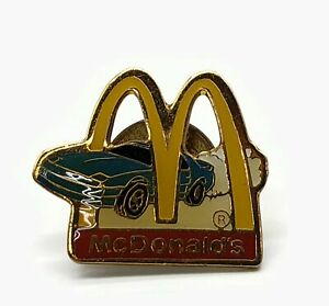 Vintage McDonald's Arches With Blue Sports Car Enamel Pin
