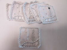 Set of 10 Handmade Christmas Card Embroidered White Pearl Patches Badges #8F31