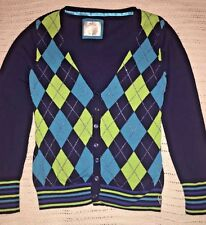 JUSTICE For Girls Gorgeous Argyle L/S Sweater Navy w/Blues & Green Size 20 EUC!!