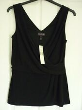Long Tall Sally Black Sleeveless Drape Wrap Top. Small UK 12 EUR 40 US 8.