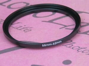 58mm to 62mm Stepping Step Up Filter Ring Adapter 58mm-62mm