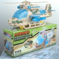 "Toy Military Armed Fighter Helicopter Spinning Propeller with Lights - 10""L New"