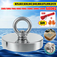 D25-D120mm 600KG Strong Salvage Neodymium Fishing Magnet with 10M Rope & Gloves