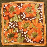 1970's Extra Large Silk Vera Neumann scarf w/ Floral Design (31 x 31)