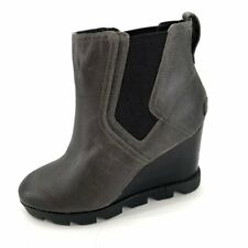 Sorel Womens Joan Uptown Chelsea Quarry Gray Leather Wedge Lug Sole 7 Boots NEW