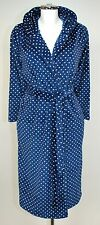 Ladies Hooded Navy & White Spotted Supersoft Fleece Dressing Gown. Sizes S & M.