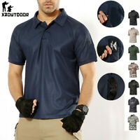Military Mens Combat T-Shirt Summer Army Tactical Hiking Camouflage Casual Shirt