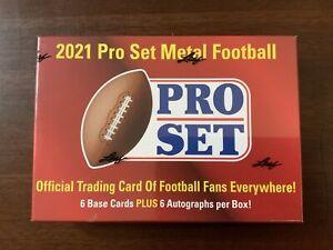 2021 Leaf Pro Set Metal Football Hobby Box FACTORY SEALED 6 Autos