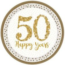 "8 x 50 Happy Years 9"" Paper Plates Golden Anniversary 50th Wedding Party Gold"