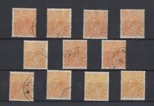 1926/30 Aust KGV 1/2d orange SG 85 sm. multi wmk P 14, 11 fu stamps wholesale