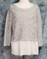 Postmark Womens L Gray White Split Back Layered Look Long Sleeve Sweater