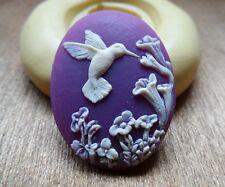 Springtime HummingBird  cameo silicone push mold mould  resin sugar craft USA