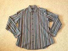 Next Brown / Blue Striped Casual Shirt Adult L (N)