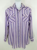 Panhandle Slim Mens Purple White Button Down Long Sleeve Shirt Size 16