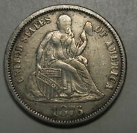 1876 Silver Seated Liberty Dime Grading AU Nice Original Uncleaned Coin  t53