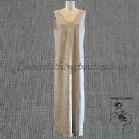NWT LA FIXSUN MATCH POINT LINEN SUMMER DRESS LONG NATURAL SLEEVELESS V-NECK BIAS