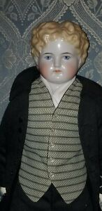 """ANTIQUE BOY CHINA HEAD BLONDE CURLY HAIR DOLL APPROX. 24 1/2"""""""