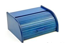 Wooden Bread Box Apollo Roll Top Bin Storeage Loaf Kitchen Large - Blue