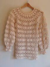 Vtg 70s Crochet ivory Boho Hippie Sweater knit top dress Knit