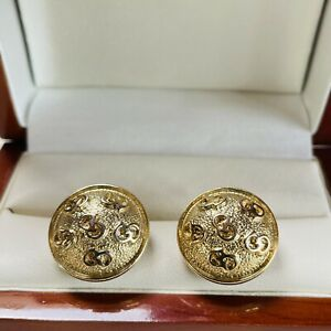 VINTAGE JEWELLERY CHRISTIAN DIOR CD LOGO GOLD PLATED CLIP ON EARRINGS