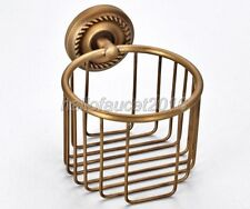 Antique Brass Wall Mounted Bathroom Toilet Paper Roll Holder Basket lba274