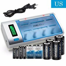 Battery Charger For C D Size AA AAA 9V Ni-MH Ni-CD Rechargeable Batteries PALO